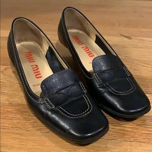Miu Miu Black Leather Kitten Loafers